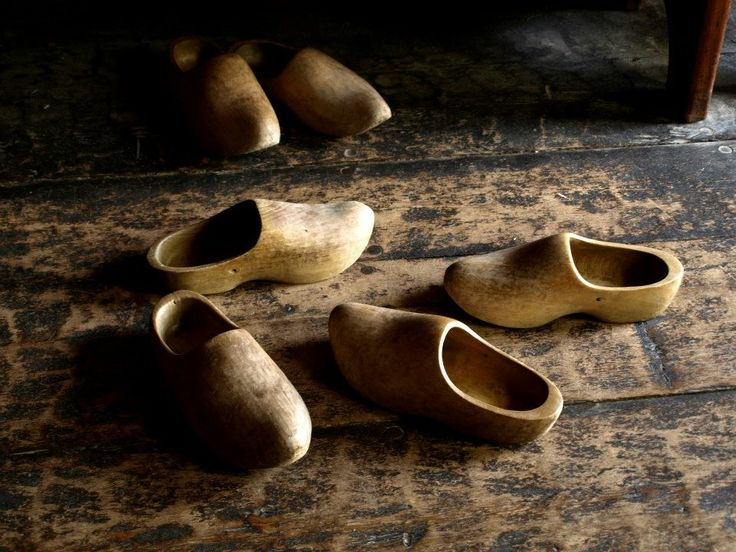 Some wooden shoes known as sabots