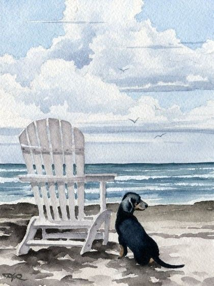 "Dachshund Art Print ""DACHSHUND At The BEACH"" Dog Watercolor Signed by Artist DJ Rogers"