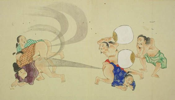 """Drawings of men farting from the Japanese edo period (1603-1868) depicts he-gassen or """"farting competitions"""""""