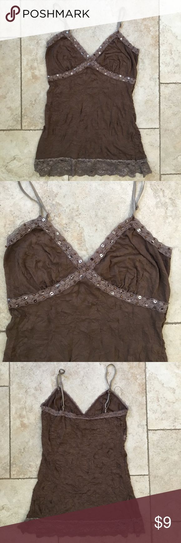 Brown Cami with Lace and Sequin Detail Size SMALL Super cute crinkle designed camisole with lace, sequins and beads. Tops Camisoles