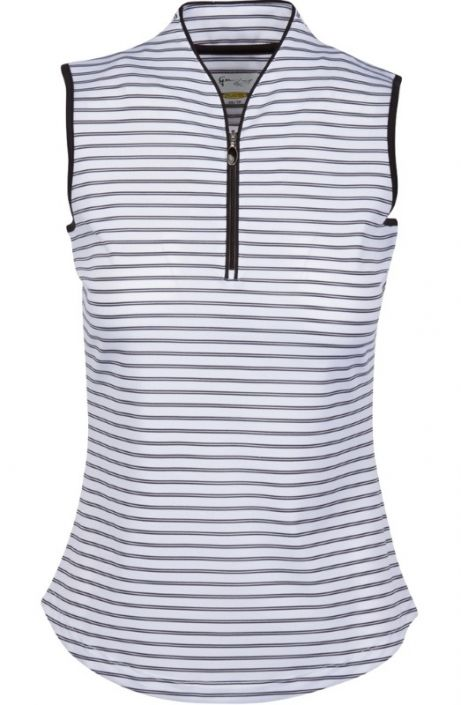 Check out our Black/White ESSENTIALS Greg Norman Ladies & Plus Size ML75 Microlux Zip Stripe S/L Golf Shirt! Find stylish golf apparel at #lorisgolfshoppe Click through to own this shirt!