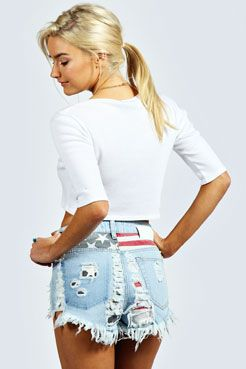 Chelsie USA Flag Distressed Denim Hotpants at boohoo.com