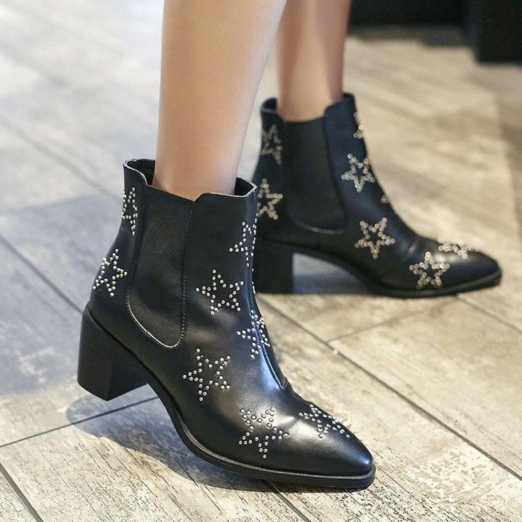 Womens British Retro Rivet Star Pointy Toe Block Mid Heels Leather Chelsea Boots