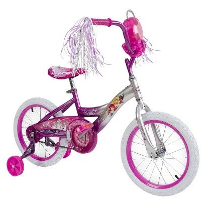 "Huffy Disney Princess 16"" Girls Bike With Removable Jewel Storage Case - Pink"