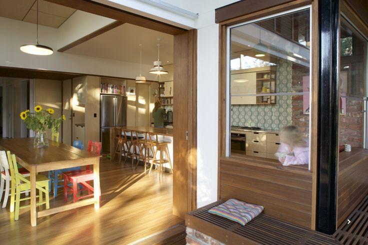 www.arcke.com.au. Bardon Garden House. Kitchen, dining and window seat.. #arcke #brisbanearchitect #contemporaryarchitecture #plywood