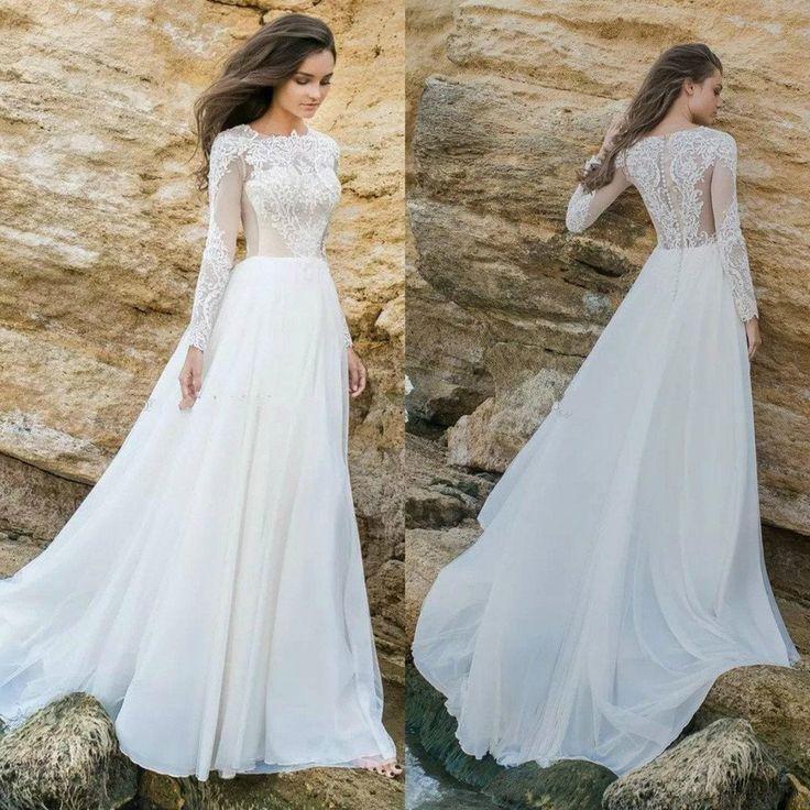 Long Sleeve White Lace Bodice Chiffon Skirt Elegant Simple Beach