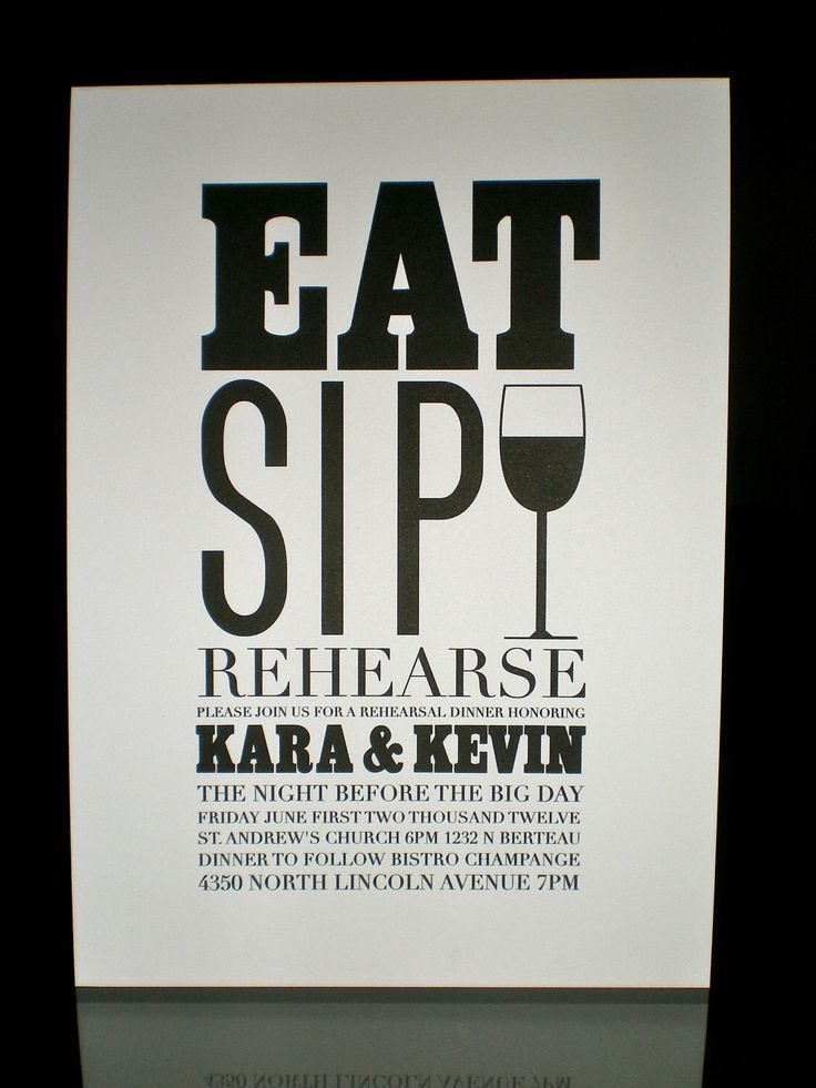 creative wording for rehearsal dinner invitations%0A Items similar to Rehearsal Dinner Invitations  Eat  Sip  Rehearse   Set of     on Etsy