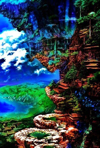____ENHANCED VERSION____   the hanging temple ,anime ,landscape ,manga ,art ,fantasy , temple