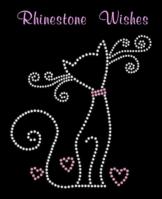 Fancy Cat Rhinestone Transfer Iron On DIY by RhinestoneWishes, $8.75