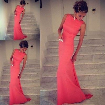 2014 New Long Chiffon Mermaid Glamorous Prom Dress Evening Cocktail Party Dress