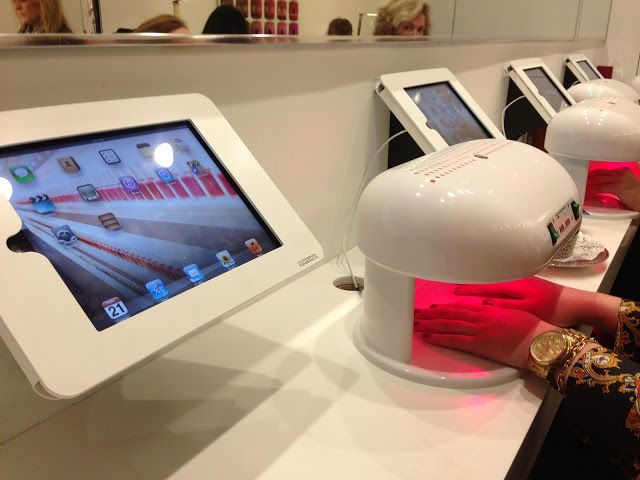 essie nail salon in nyc has ipads at the drying stations via lipstick louboutins