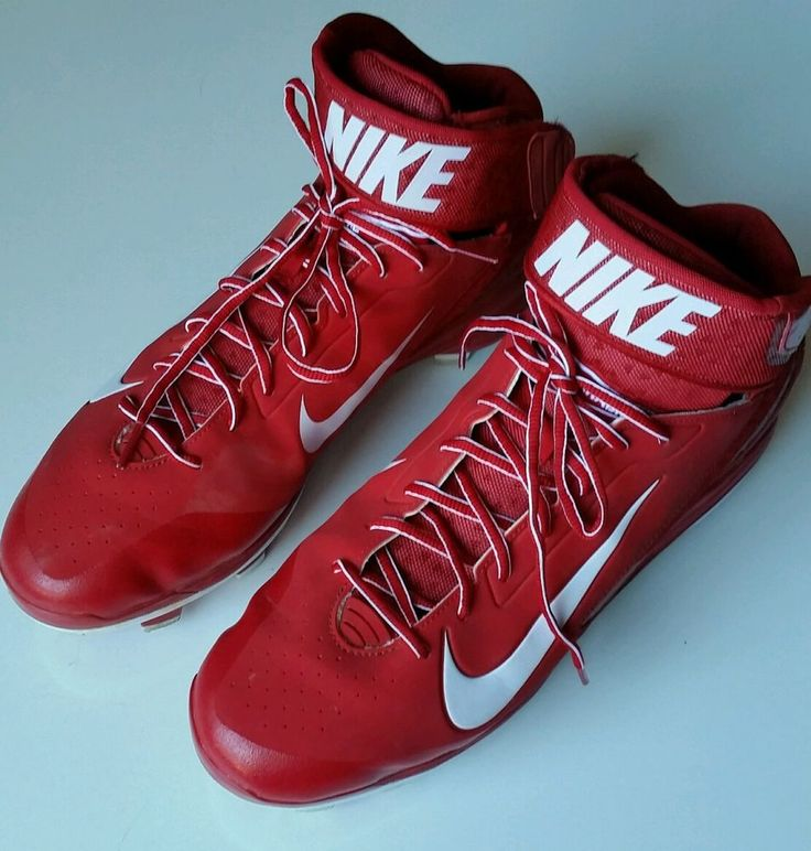 NIKE Air Huarache Cleats Men Size 14 Red White Plastic Baseball Shoes 616921-611 #Nike