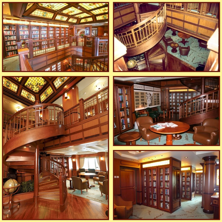 The library on Cunard's Queen VIctoria cruise ship is two-decks high, trimmed with mahogany and contains a nice selection of more than 6,000 books, periodicals and newspapers. A graceful curved staircase leads from Deck 2 to Deck 3.