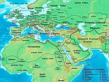 Empire BYZANTIN dans son environnement en l'an 600 -Empire byzantin — Wikipédia