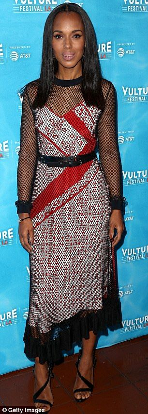 Kerry Washington stuns in fishnet dress with red and white slip in LA