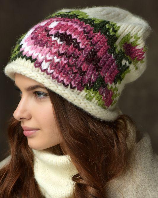 Женская шапка с крупной вязкой «Прованс»