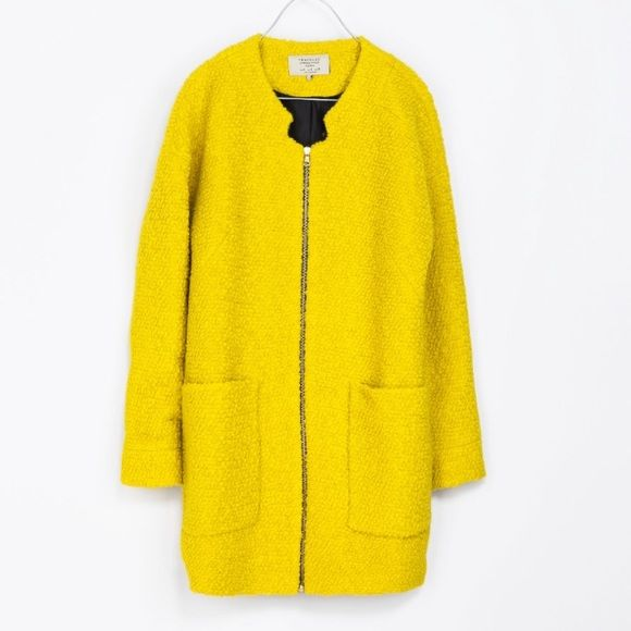 Zara Yellow Textured Zip Front Coat Zara Yellow Textured Zip Front Coat. Size Small but can fit a Medium. Vintage Feel!! Great Coat to add to spice up and outfit. Zara Jackets & Coats