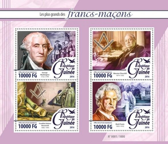 GU16107a Masons (George Washington (1732-1799), Winston Churchill (1874-1965), Franklin Delano Roosevelt (1882-1945), Mark Twain (1835-1910))