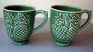 2 ~ Vintage BORDALLO PINHEIRO ~ PORTUGAL ~ PINEAPPLE ~ Coffee Cup Mugs!