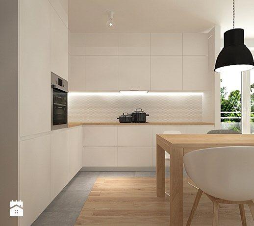 Aranżacje wnętrz - Kuchnia: projekt mieszkania - Średnia otwarta kuchnia w kształcie litery l w aneksie, styl skandynawski - Studio Architektury Loci. Przeglądaj, dodawaj i zapisuj najlepsze zdjęcia, pomysły i inspiracje designerskie. W bazie mamy już prawie milion fotografii!