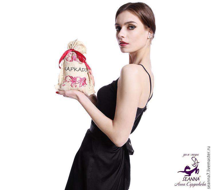 """Купить Мешочек льняной для чая с вышивкой """"Каркадэ"""" 16х25см - бежевый, мешочек для чая, упаковка для чая"""