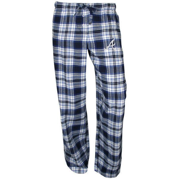 Atlanta Braves Women's Navy Blue Crossroad Flannel Pants ($20) ❤ liked on Polyvore featuring pants, navy, blue pants, navy trousers, flannel pants, navy pants and navy blue pants
