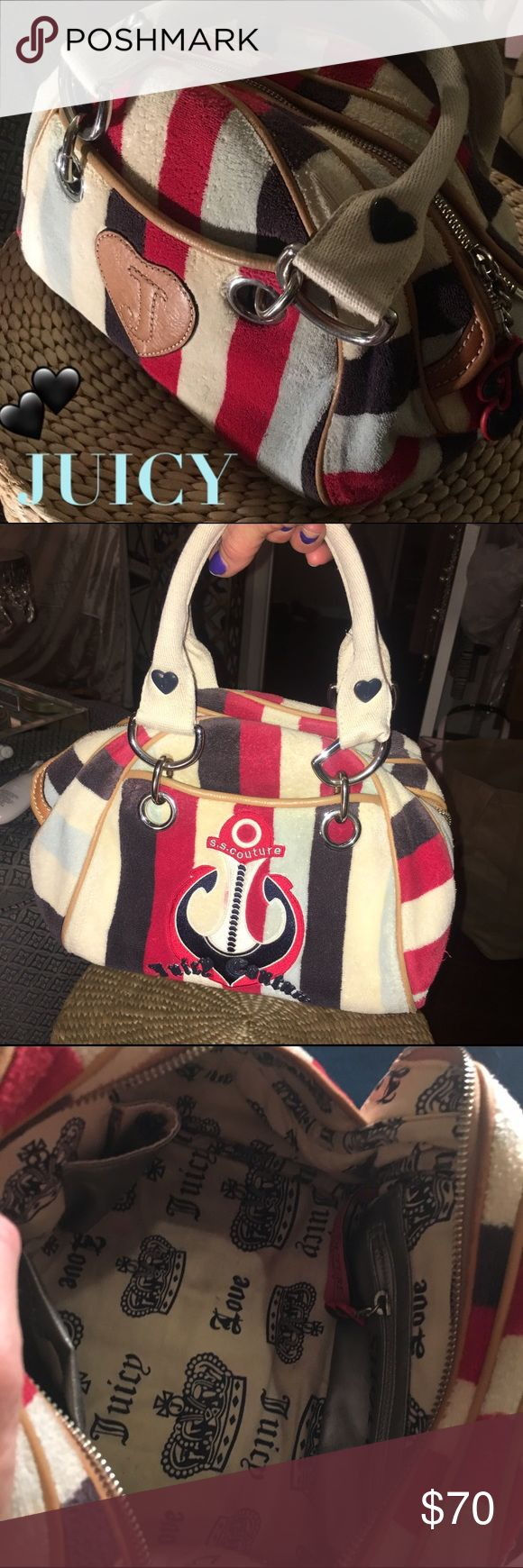 🛳JUICY Couture NAUTICAL Bag⚓️ 🛳⚓️JUICY nautical terry cloth outside • logo print inside with leather accessory pockets • metal zipper with leather trim and side bottom panels • excellent condition • used only once. ⚓️super JUICY cute⚓️🛳🛳🛳🛳 Juicy Couture Bags Totes