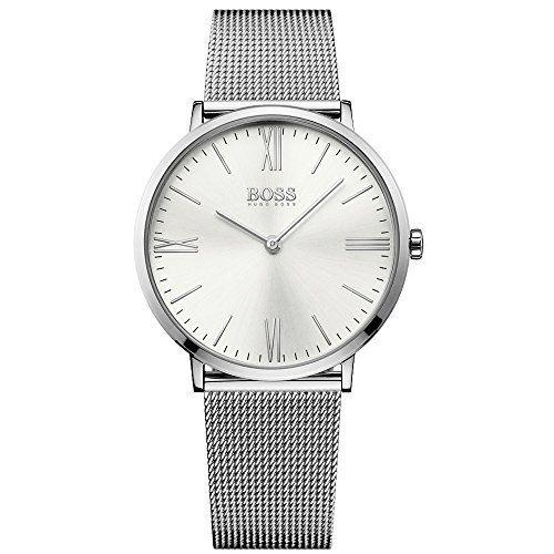 """Une montre homme analogique de la marque Hugo Boss Black avec un boîtier en acier inoxydable Forme du boîtier: rond Boîtier, diamètre boîtier (mm): 40, Hauteur (mm): 6, verre: verre minéral, couleur du cadran: Argent Matériau du bracelet: bracelet en … <a href=""""http://www.123mode.fr/produit/hugo-boss-1513459-slim-ultra-jackson-horloge-montre-pour-homme-en-acier-inoxydable-3-bar-analogique-acier-inoxydable-argente/"""">Lire la suite</a..."""