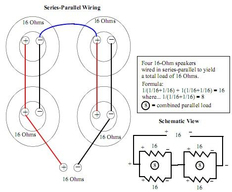 4x12 16ohm series parallel wiring schematics diagram, coding, chart4x12 16ohm series parallel 4x12 16ohm series parallel wire