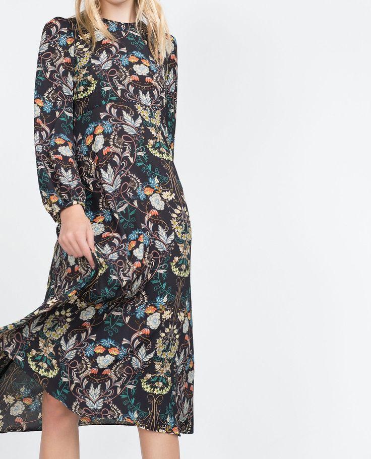 Encontre mais Vestidos Informações sobre 2015 outono inverno mulheres elegante moda Floral impresso Midi vestido de mangas compridas em torno do pescoço longo plissado em camadas vestidos, de alta qualidade vestir das mulheres sapatas da noite, vestidos vestir China Fornecedores, Barato vestir sociais de Vogue Official Online Shop em Aliexpress.com