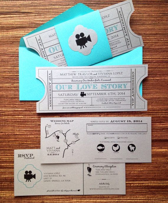 This unique, vintage film ticket invitation can be personalized to match your color theme! Scroll through the listing below for lots more info + flip through the photos above to see what others have done (paper, envelopes, belly band, etc. can be changed)! -------------------------- The listing price is for one full invitation suite, which includes my custom design to match your theme, AND also includes: > half-hole punches on each end of the main printed invite ticket > all-in-one RSVP…
