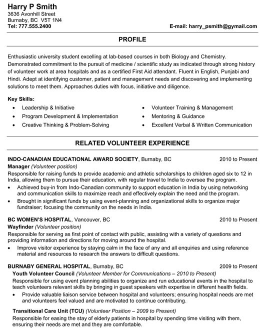 Biology And Chemistry Student Resume Sample