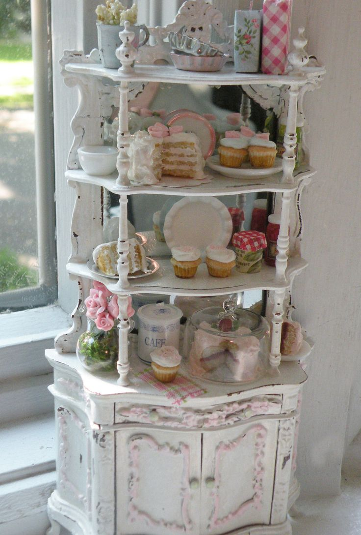shabby chic cottages | Miniature Bakery Shabby Chic Etagere by CynthiasCottageShop