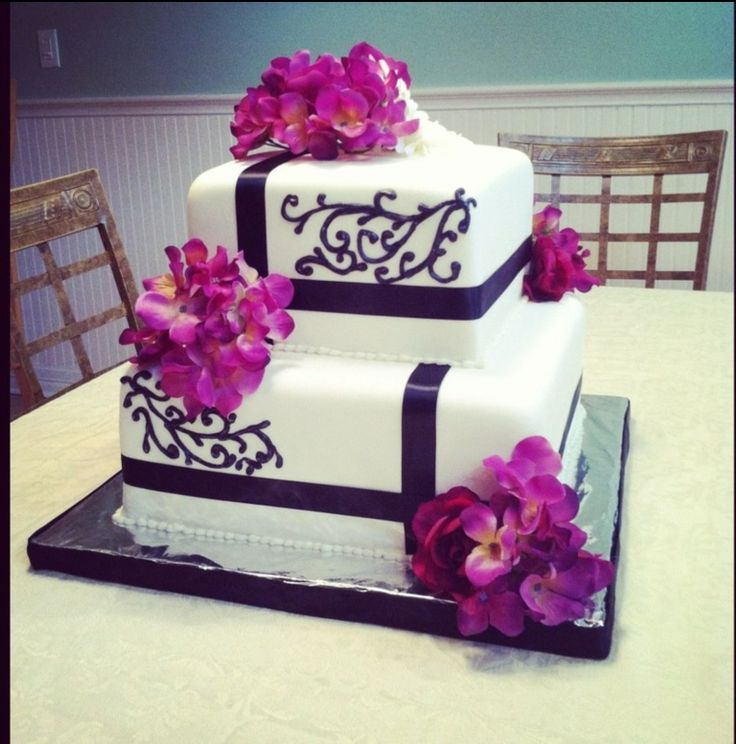 square black and white wedding cakes pictures%0A Purple Hydrangea Wedding Cake  This is a   tier square wedding cake with  black accents