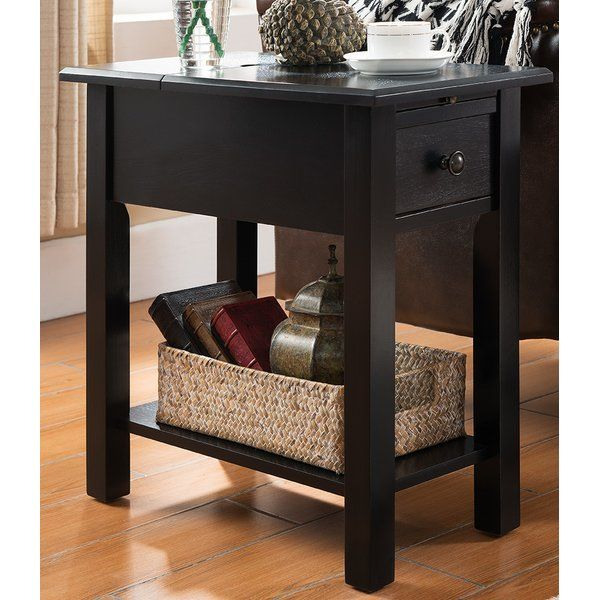 This Side Table With Charging Station Is A Perfect Addition To Any Room This Table Includes A Drawer A Sh Black Side Table End Tables Side Table With Storage