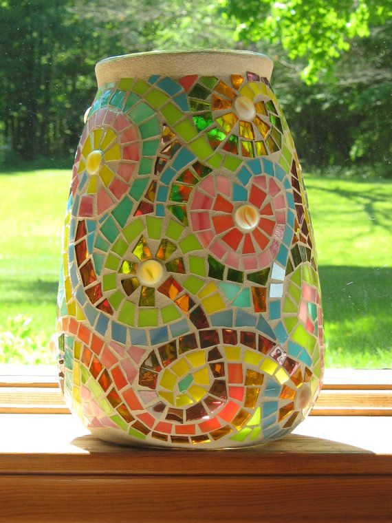 Swirly Flower Mosaic Vase by valleybeadglassart on Etsy, $50.00