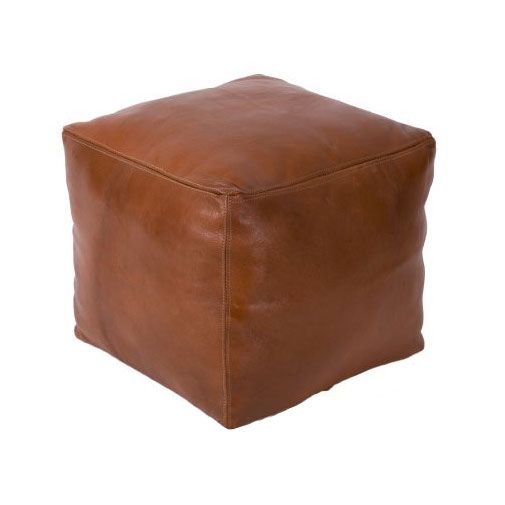 Cubic Leather Pouf | I'd take this simple leader one over the heavily ornamented ones any day.