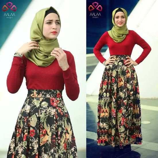 floral pleated maxi skirt, Aalaa designs winter collection http://www.justtrendygirls.com/aalaa-designs-winter-collection/