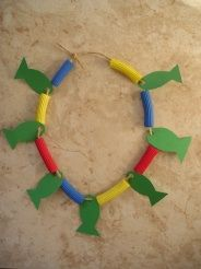 Loaves and Fishes necklace. Link to an easy craft using construction paper and pasta. I would use fun foam for the fish instead of paper. Emily this would be cute for church!!!