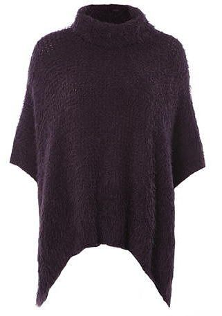 Womens aubergine voulez vouz plum turtle neck poncho from Dorothy Perkins - £30 at ClothingByColour.com