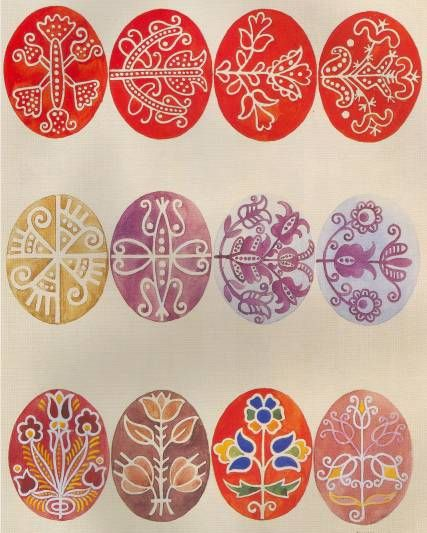 Traditional hímestojás egg designs.  The source is not given.