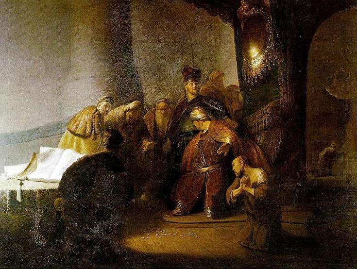 Rembrandt van Rijn, Judas geeft de zilveren penningen terug, 1629, gemaakt in Leiden. Genre: bijbels tafereel. Aan dit schilderij valt vooral het licht-donker contrast op. Judas zit helemaal in het donker, zodat je hem bijna niet meer herkent, je voelt zijn schaamte bijna, terwijl de zilveren penningen vanaf de grond schitteren. In dit schilderij vallen ook de uitdrukkingen van de mannen op, ze kijken onthutst en bijna bang voor de reactie van de man op de troon.
