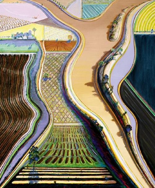 Wayne Thiebaud, Brown River, 2002.Artists, Art Blog, Brown Rivers, Thiebaud Landscapes, Wayne Thiebaud, Colors Schemes, Painting, Waynethiebaud, Abstract Landscapes
