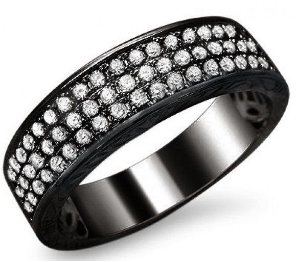 mens 85ct round diamond pave wedding band ring 14k black gold