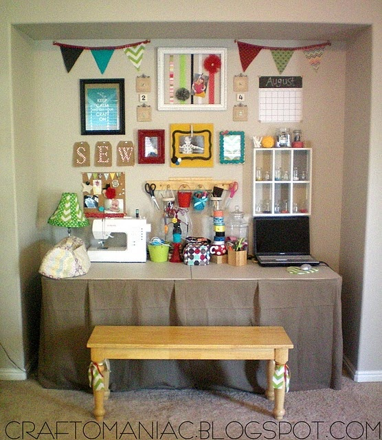 103 best images about craft corner ideas on pinterest for Corner craft table with storage