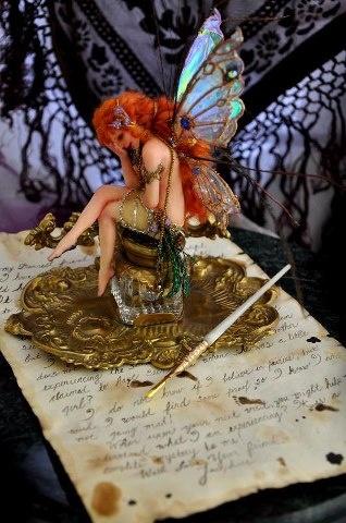 The Inkwell Fairy Sculpture.  Art by Jennifer Sutherland. http://sutherlandart.deviantart.com/  .