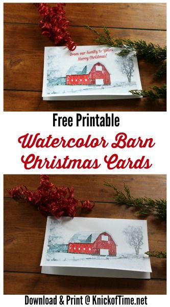 Watercolor Christmas Cards Printables - KnickofTime.net