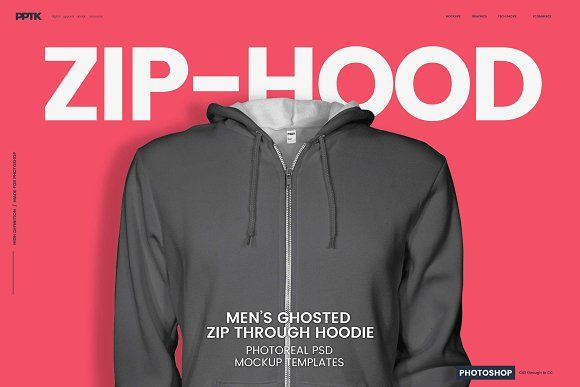 Mens Ghosted Zip Hoodie Templates by PrePress Toolkit on @creativemarket