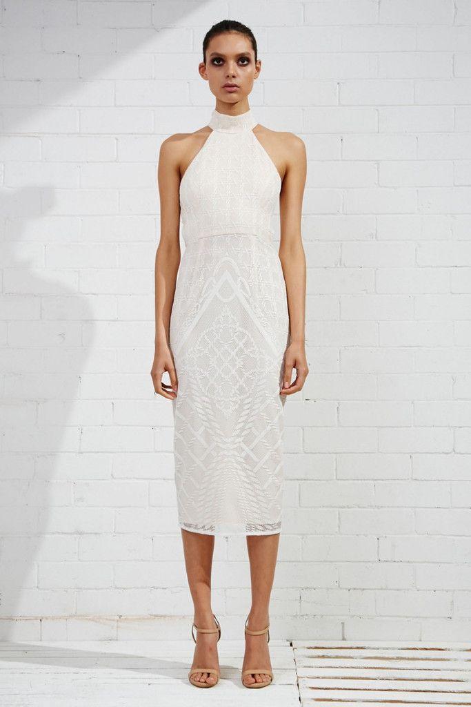 Shona Joy High Neck Midi Dress in Maddalena Ivory Lace