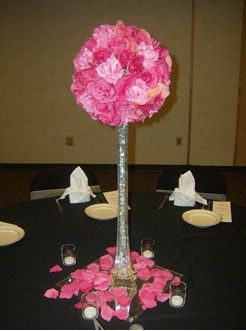 Centerpiece - use PVC pipe that is covered and perch a ...
